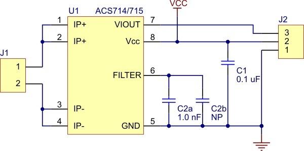 Schemat podłączenia czujnika prądu ACS714