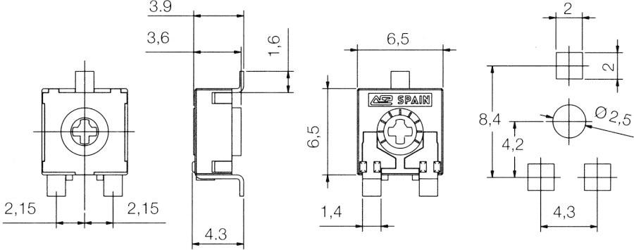Potencjometr SMD - wymiary